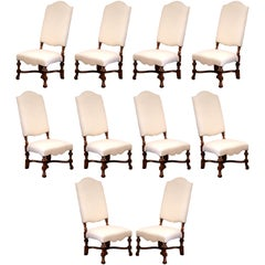 Suite of Ten French Louis XIII Carved Walnut Dining Chairs Muslin Upholstered