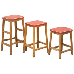 Suite of Three Progressive Modern Industries Stamped Artist Art School Stools