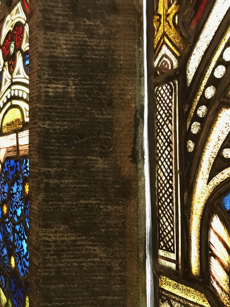 Suite of Three Religious Stained Glass Windows with Original Stone Traceries In Good Condition In Salt Lake City, UT