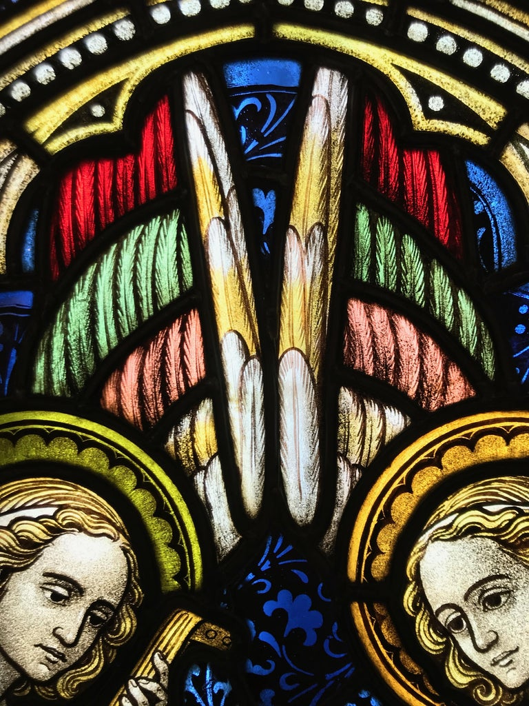19th Century Suite of Three Religious Stained Glass Windows with Original Stone Traceries