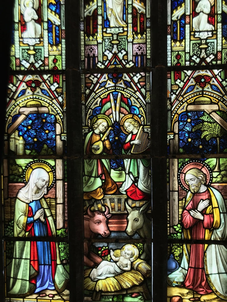 Suite of Three Religious Stained Glass Windows with Original Stone Traceries 1