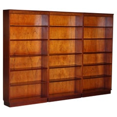 Suite of Three Vintage Flamed Hardwood Beresford & Hicks Library Bookcases 3