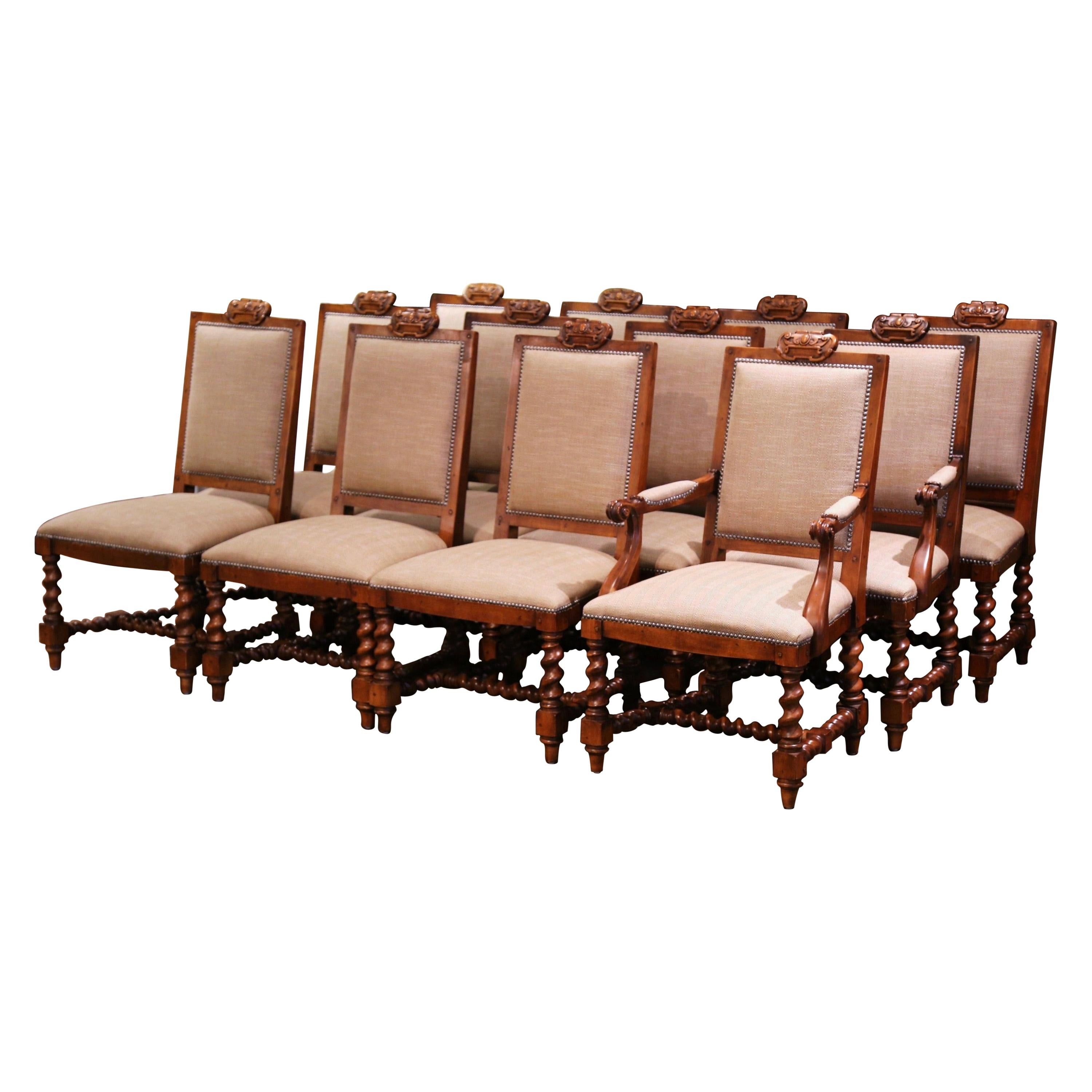 Suite of Twelve Carved Walnut Chairs from Ralph Lauren with Chenille and Leather