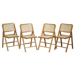 Suite of Vintage Beech Wood Berger Rattan Folding Military Campaign Style Chairs