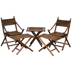 Suite of Vintage Brown Leather Steamer Folding Armchairs, Stools & Coffee Table