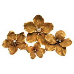 Suite of Yellow Gold Diamond Pearl Floral Brooch Pins