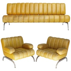 Suite Sofa Daybed Armchairs Table Independence Karl Wittmann Yellow Leather 1970