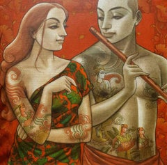 """Couple, Indian Mythology, Acrylic on canvas, Red, Yellow, Green, Brown""""In Stock"""""""