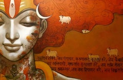"Divinity, Flying Hair & Sanskrit Script, Orange &Green, Acrylic Canvas""In Stock"""