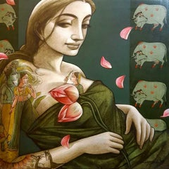 """Indian Woman with flowers and mythology tattoo drawing on her """"In Stock"""""""