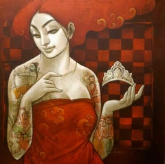 """Panchali with Crown and mythology tattoo, Orange,Red Acrylic Canvas """"In Stock"""""""