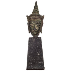 Sukhothai Style Bronze Head of Buddha Shakyamuni on Marble Base, circa 1800