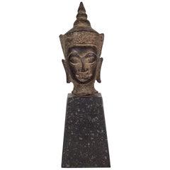 Sukhothai Style Bronze Head of Buddha Shakyamuni on Marble Base, circa 1800