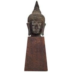 Sukhothai Style Bronze Head of Buddha Shakyamuni on Wood Base, circa 1800