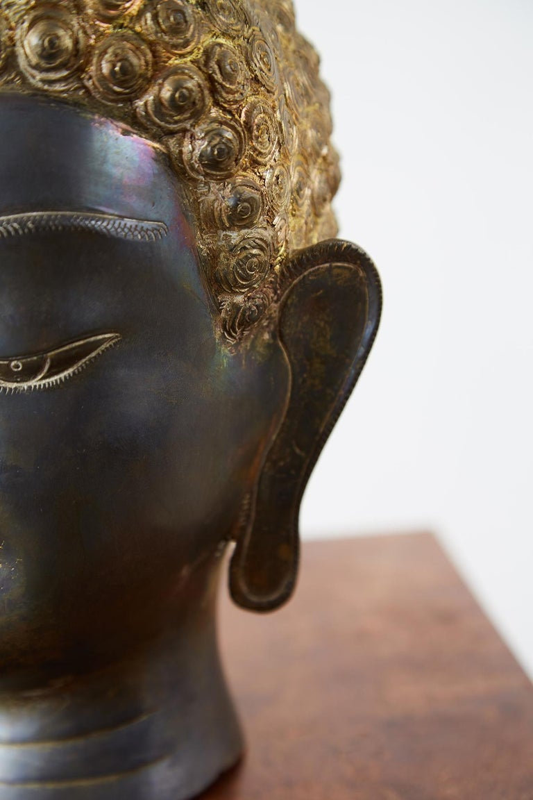 Sukhothai Style Bronze Metal Buddha Head For Sale 4