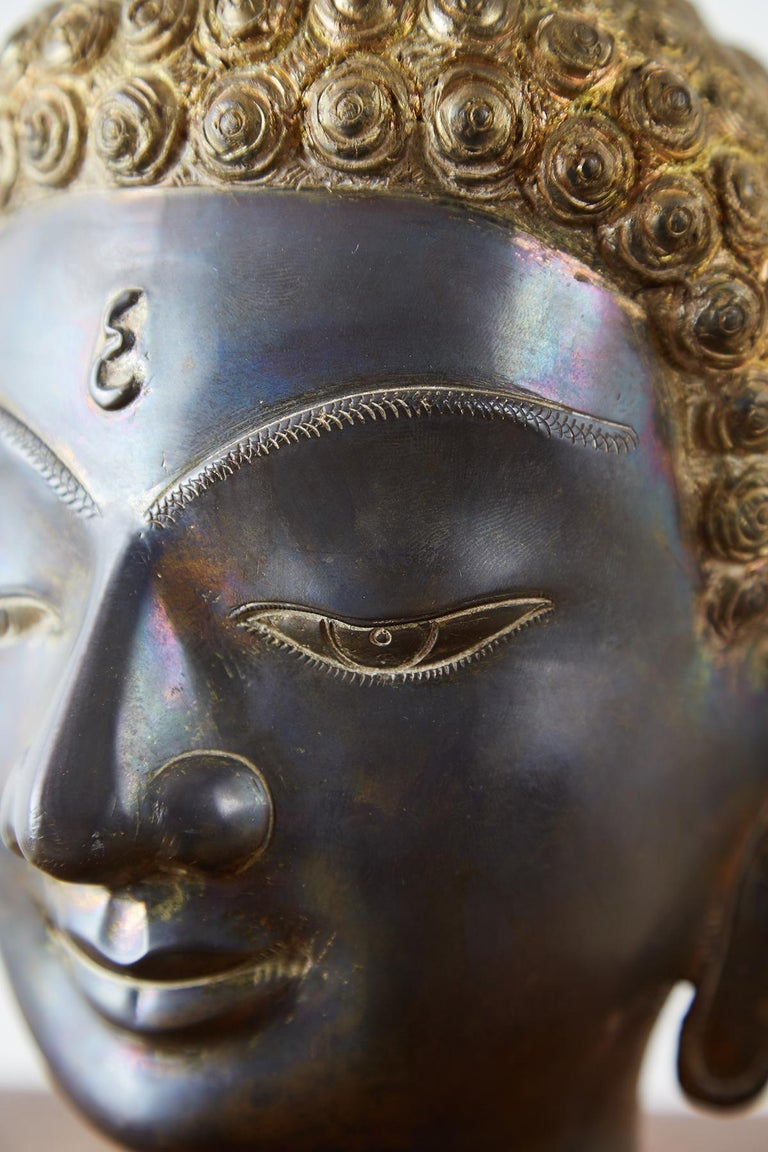 Sukhothai Style Bronze Metal Buddha Head For Sale 6