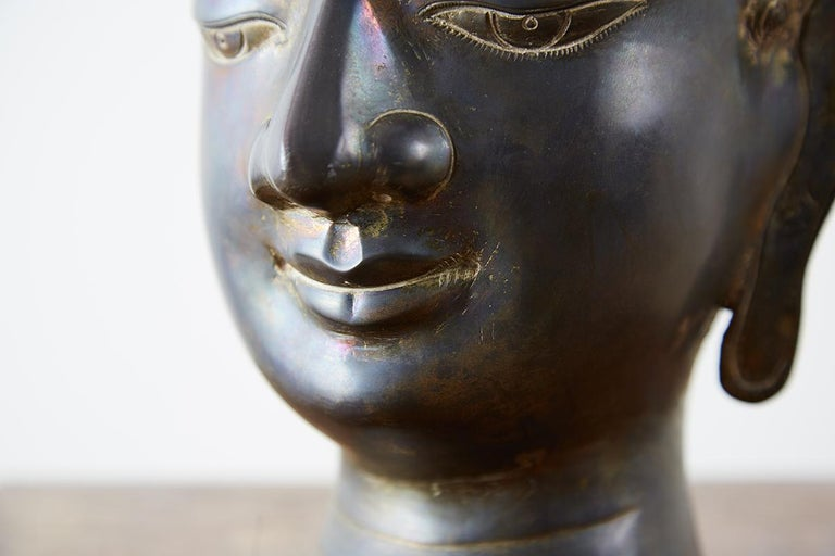 Sukhothai Style Bronze Metal Buddha Head For Sale 8