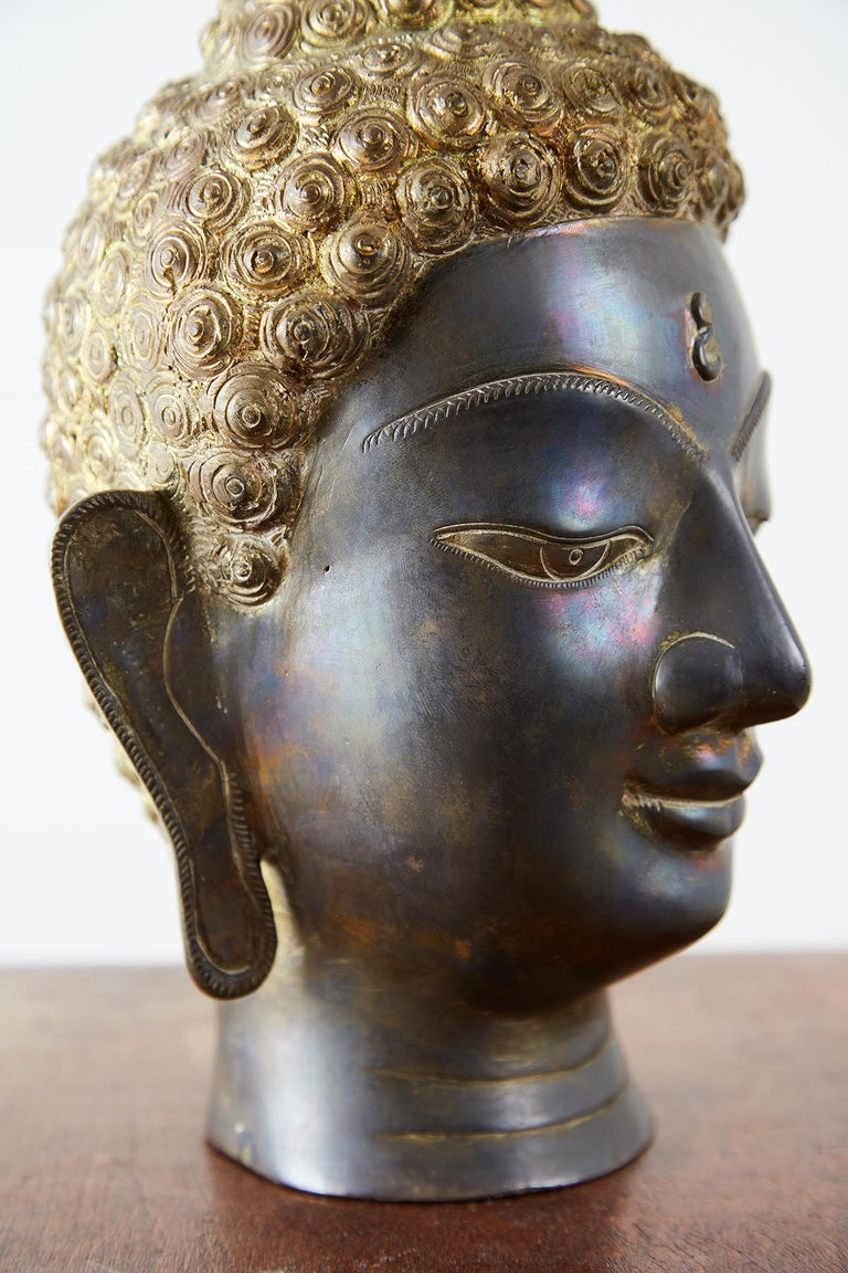 Sukhothai Style Bronze Metal Buddha Head For Sale 9