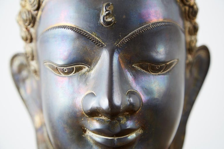 Sukhothai Style Bronze Metal Buddha Head For Sale 10