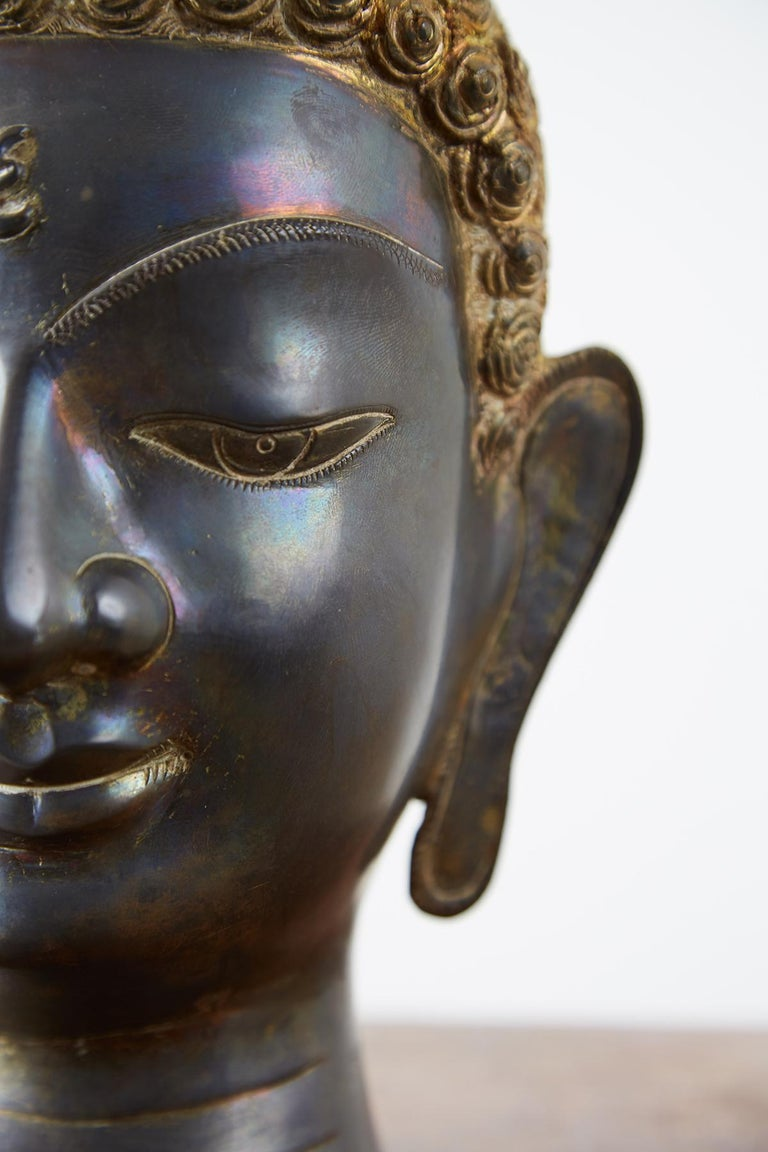 Sukhothai Style Bronze Metal Buddha Head For Sale 11