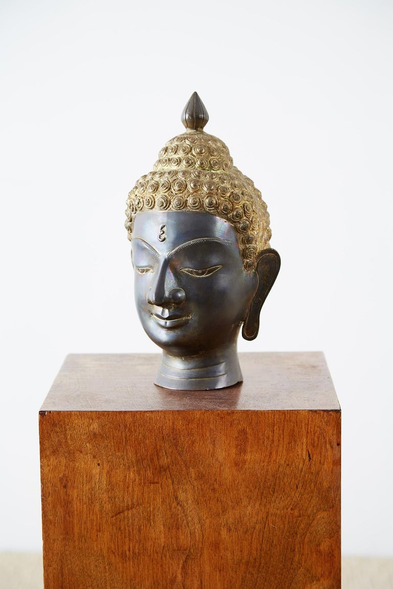 Thai Sukhothai Style Bronze Metal Buddha Head For Sale