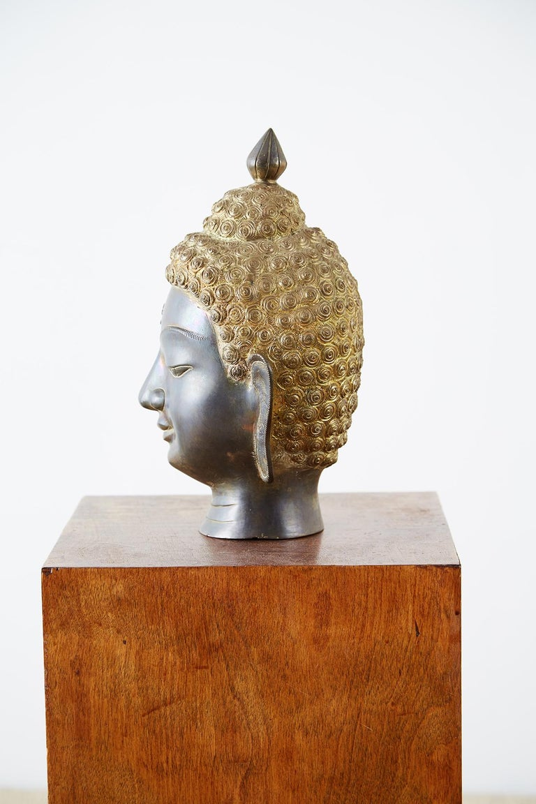 Hand-Crafted Sukhothai Style Bronze Metal Buddha Head For Sale