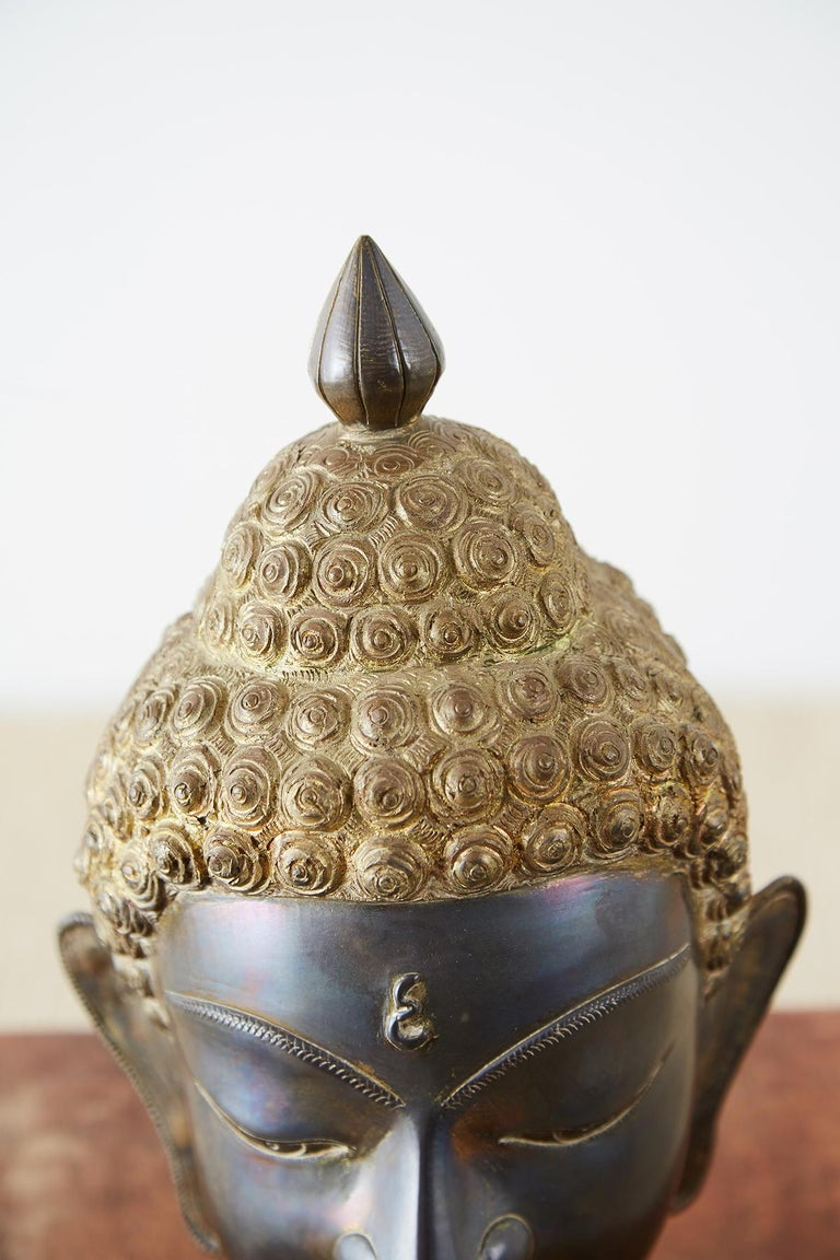 20th Century Sukhothai Style Bronze Metal Buddha Head For Sale