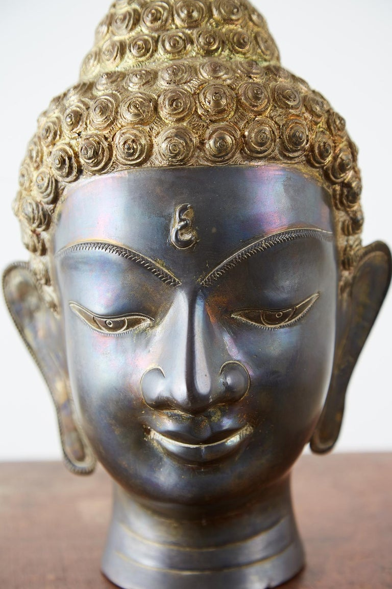Sukhothai Style Bronze Metal Buddha Head For Sale 1