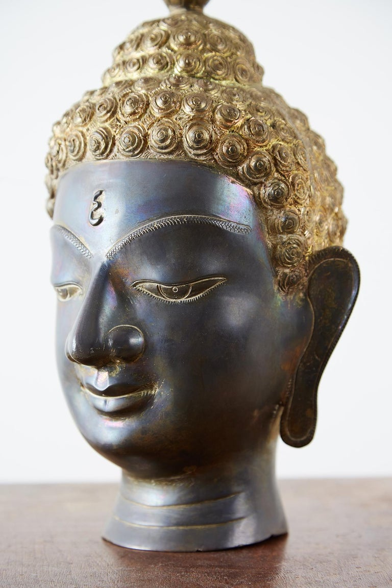 Sukhothai Style Bronze Metal Buddha Head For Sale 2