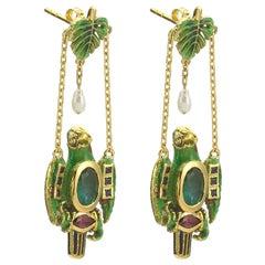 Suki Earrings with Enamel, Ruby, Emerald, Diamond, Pearl, 18 Karat Yellow Gold
