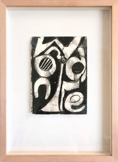"""Abstract Composition (Black and White)"" Mixed Media Painting on Paper"