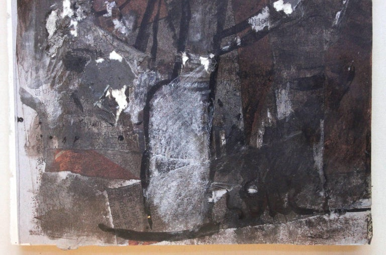 Abstract Composition (Brown and Black) - Abstract Expressionist Painting by Suki Maguire