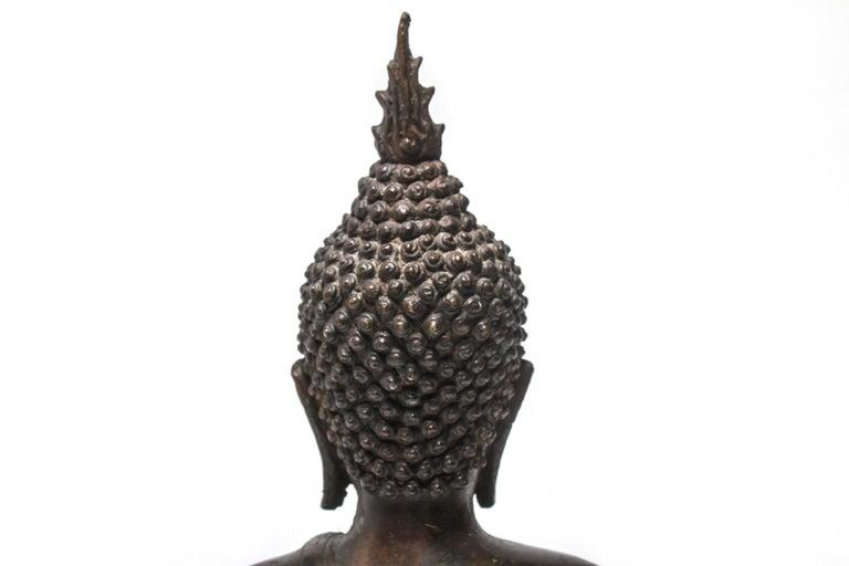 Sukothai Style Thai Bronze Seated Buddha For Sale 3