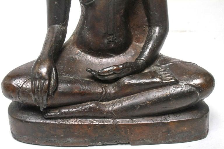 Sukothai Style Thai Bronze Seated Buddha For Sale 4