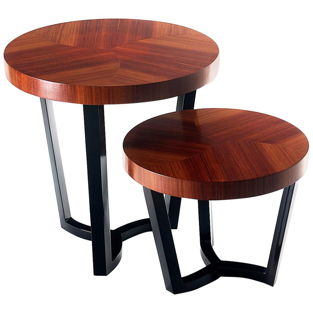 Sulivan Marquetry Cocktail Table in Black Lacquered Wood