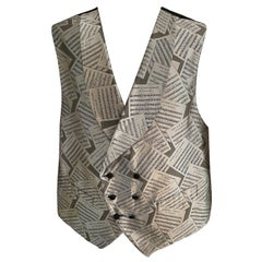 Sulka Mens Vintage Double Breasted Silk Vest with Opera Score Motif XL