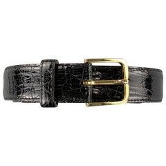 SULKA Size 36 Black Patent Crocodile Leather Belt