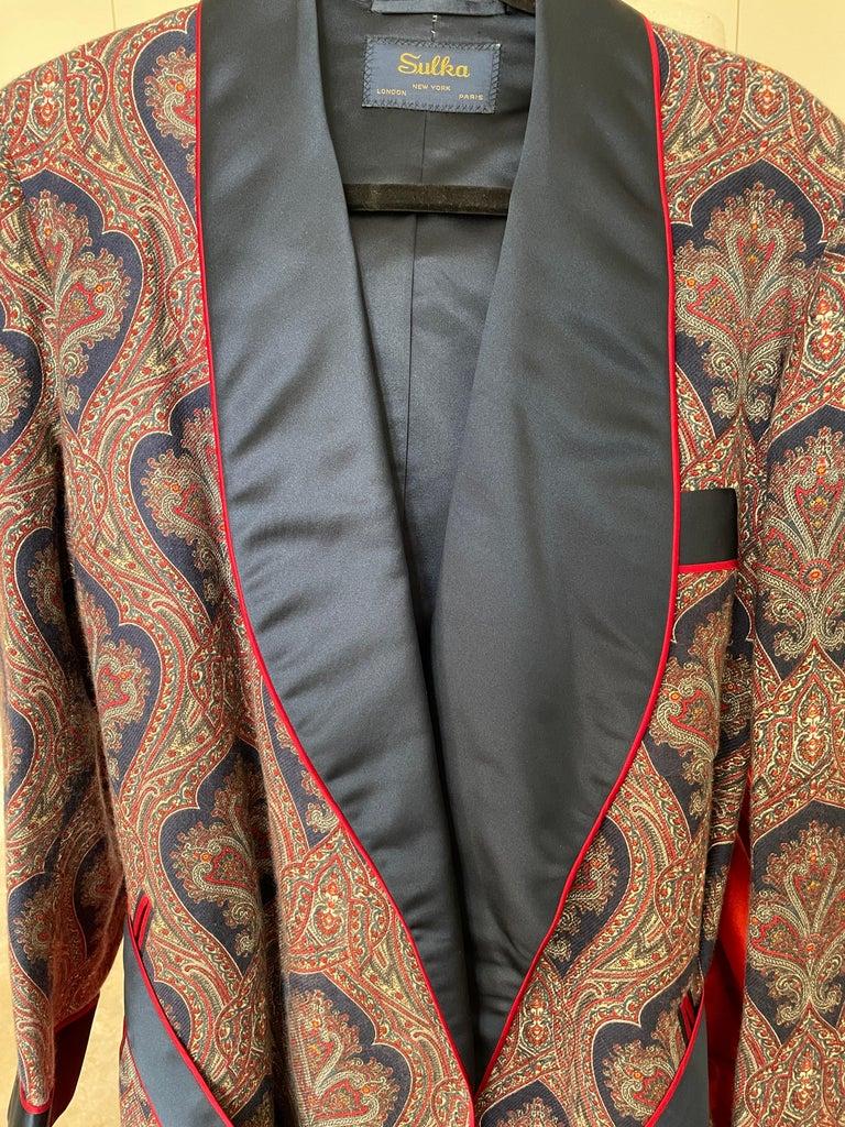 Sulka Unworn Bespoke Vintage Paisley Cashmere Silk Lined Smoking Evening Robe For Sale 5