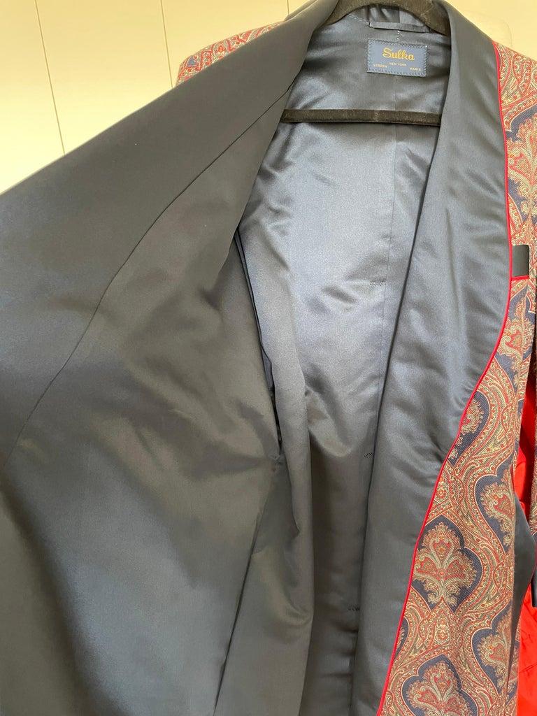 Sulka Unworn Bespoke Vintage Paisley Cashmere Silk Lined Smoking Evening Robe For Sale 6
