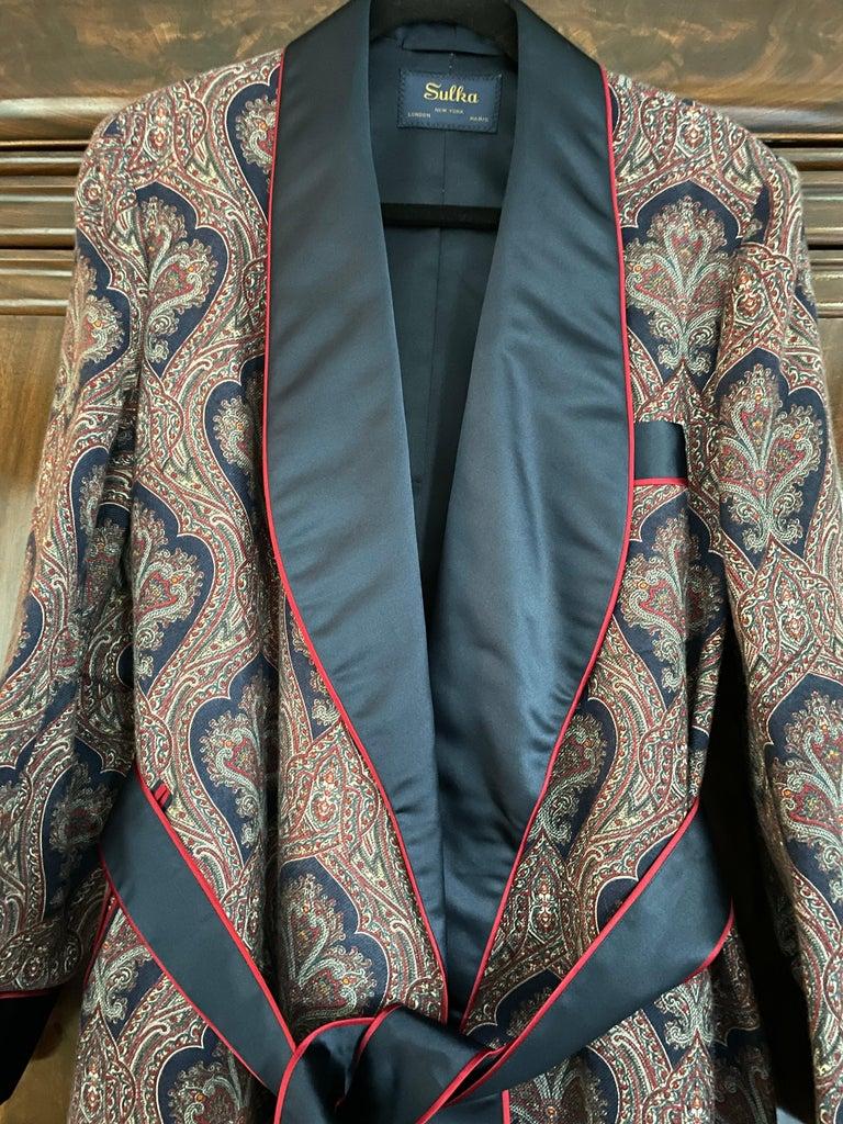 Gray Sulka Unworn Bespoke Vintage Paisley Cashmere Silk Lined Smoking Evening Robe For Sale