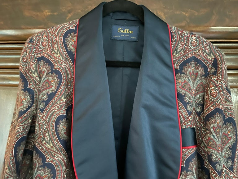 Sulka Unworn Bespoke Vintage Paisley Cashmere Silk Lined Smoking Evening Robe In New Condition For Sale In San Francisco, CA