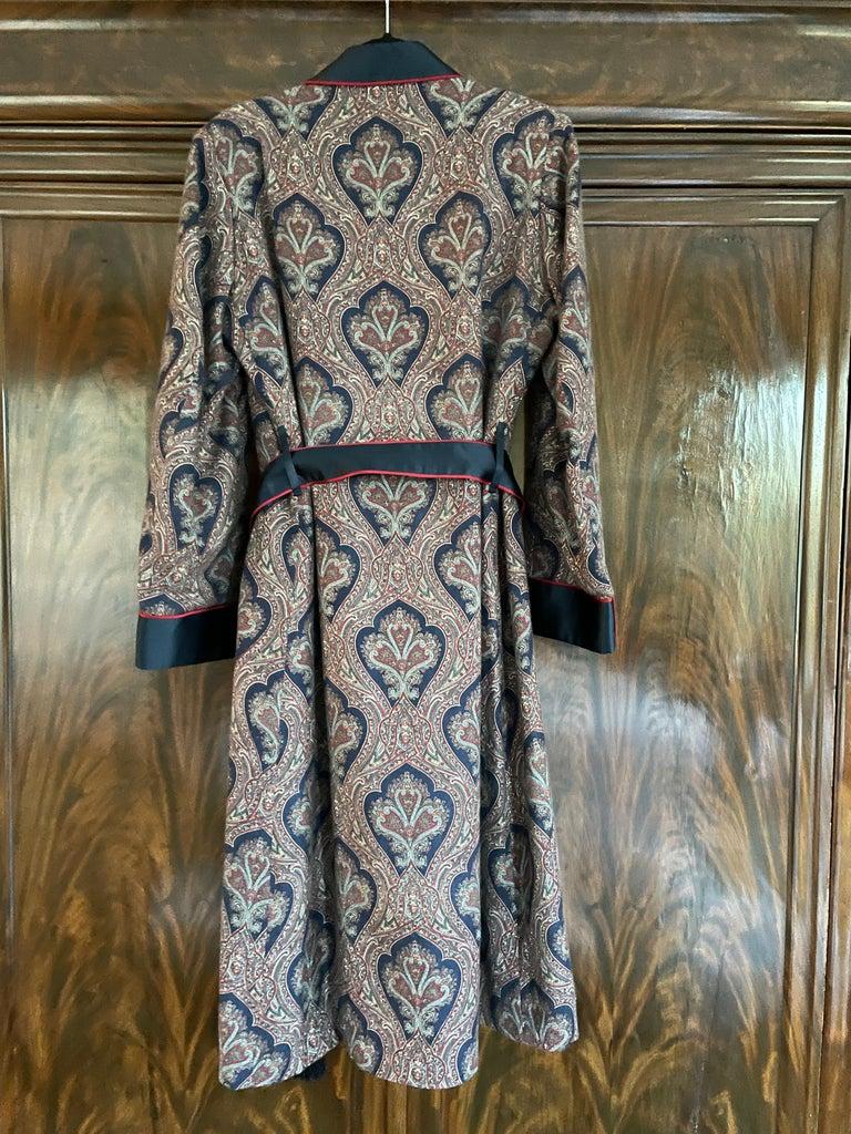 Sulka Unworn Bespoke Vintage Paisley Cashmere Silk Lined Smoking Evening Robe For Sale 1