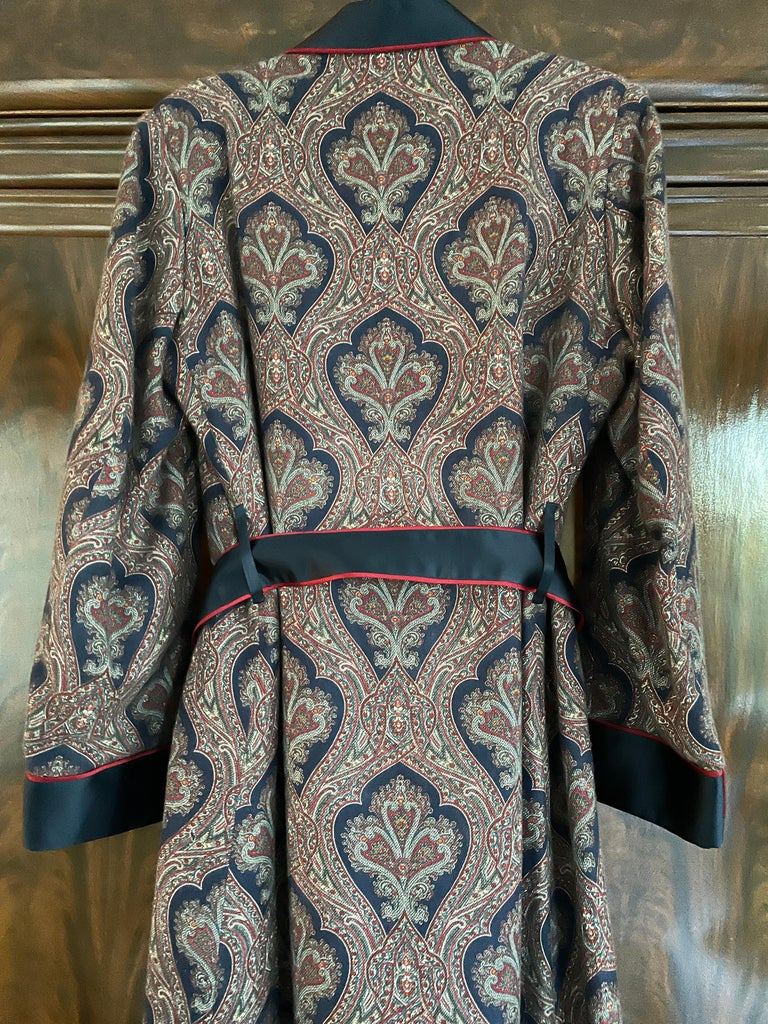 Sulka Unworn Bespoke Vintage Paisley Cashmere Silk Lined Smoking Evening Robe For Sale 2