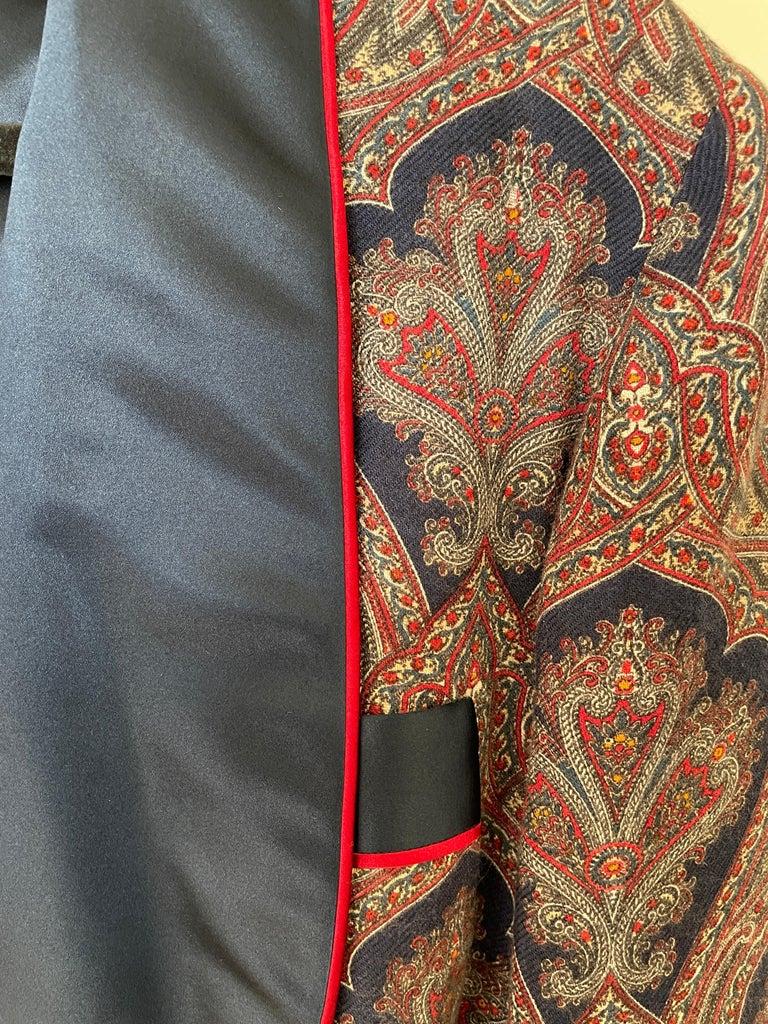 Sulka Unworn Bespoke Vintage Paisley Cashmere Silk Lined Smoking Evening Robe For Sale 4