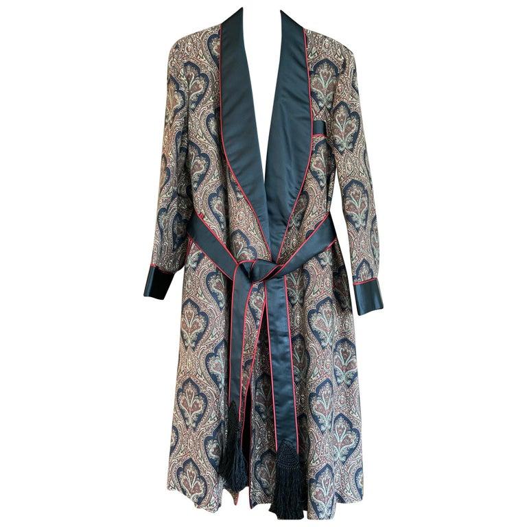 Sulka Unworn Bespoke Vintage Paisley Cashmere Silk Lined Smoking Evening Robe For Sale