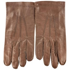 SULKA Vintage Size 9 Brown Leather Silk Lined Gloves