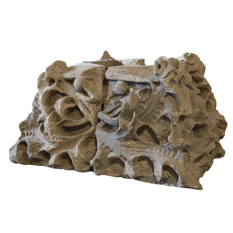 A rare Louis Sullivan designed four-piece terracotta capital from the Chicago stock exchange, 1893, by the legendary firm of Adler and Sullivan.