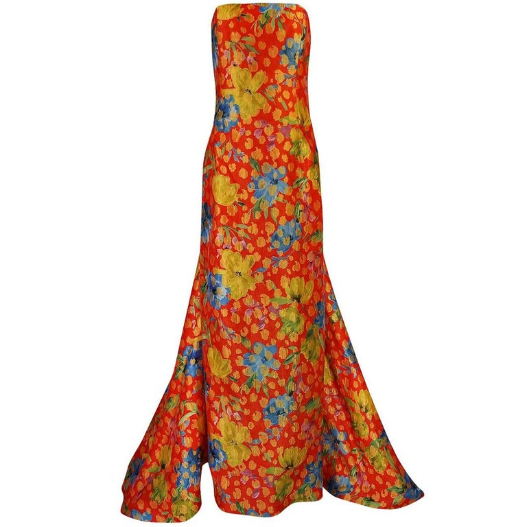 Sully Bonnelly Red and Gold Floral Strapless Trained Dress, circa 1998 For Sale