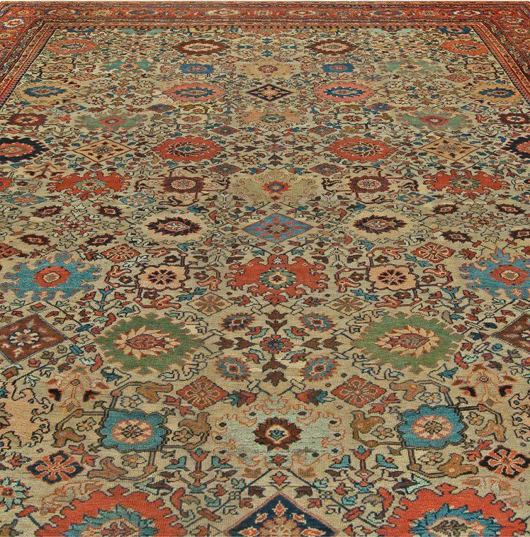 Sultanabad antique handwoven wool rug Size: 12'7