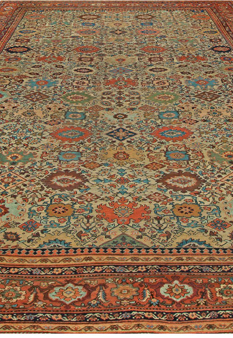Persian Sultanabad Antique Handwoven Wool Rug For Sale